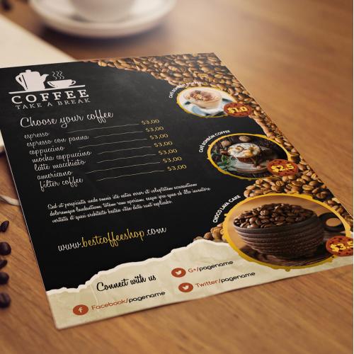 Menu design for coffee shop