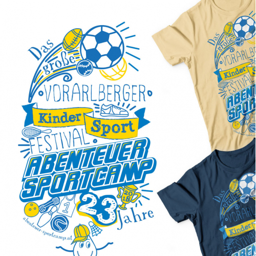 T-shirt and Flag design for kids sportcamp