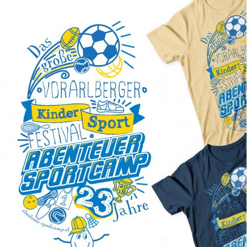 T-shirt and Flag design for kids sportcamp