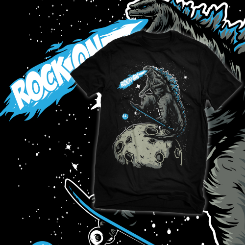 funny godzilla shirt concept (godzilla on space)