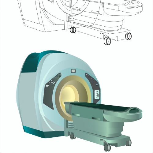 magnetic resonance imaging with outline version isolated on white