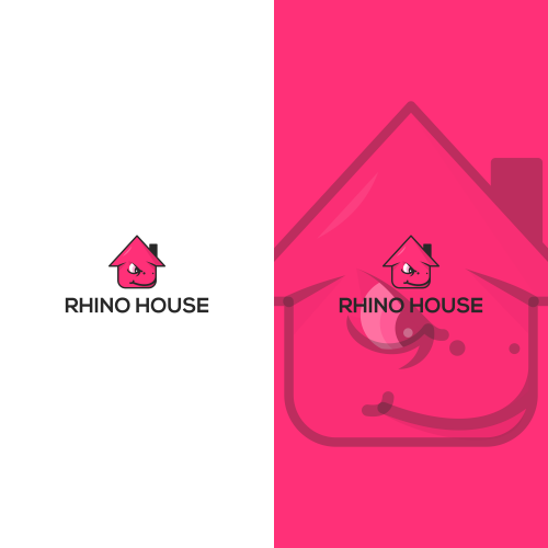 Strong rhino house with a sweet smile with a combinatio