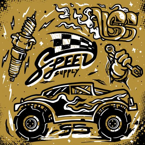 illustration set Speed supply