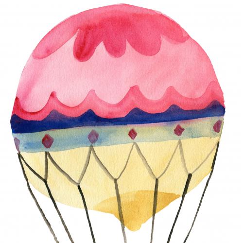 watercolor illustration balloon for flight