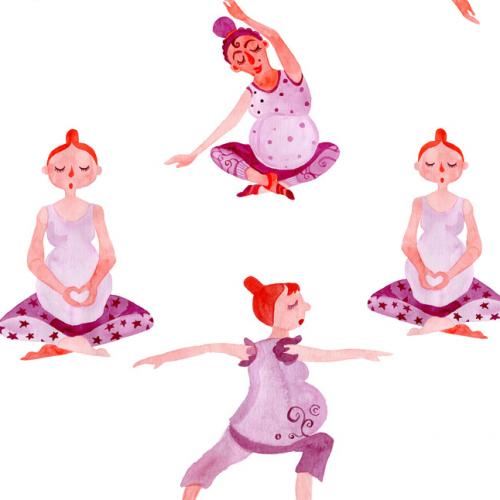 yoga for pregnant women seamless pattern