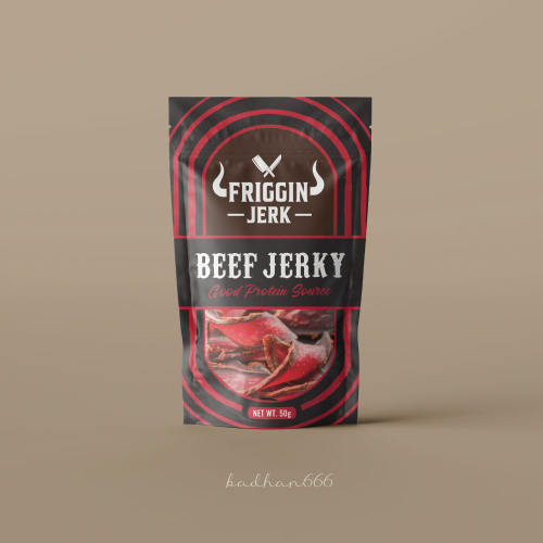 Beef jerky pouch bag packaging design.