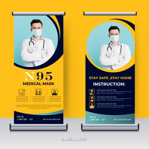 Ruller up medical mask banner.
