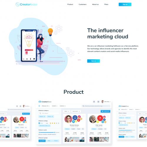 Website for leading Influencer Marketing platform