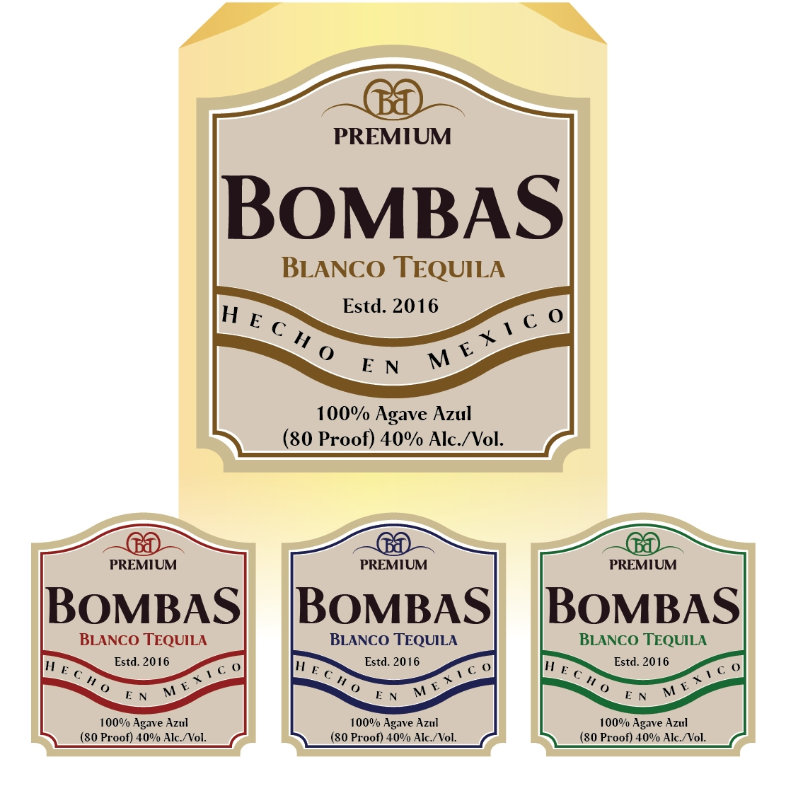 Bombas Tequila label designs