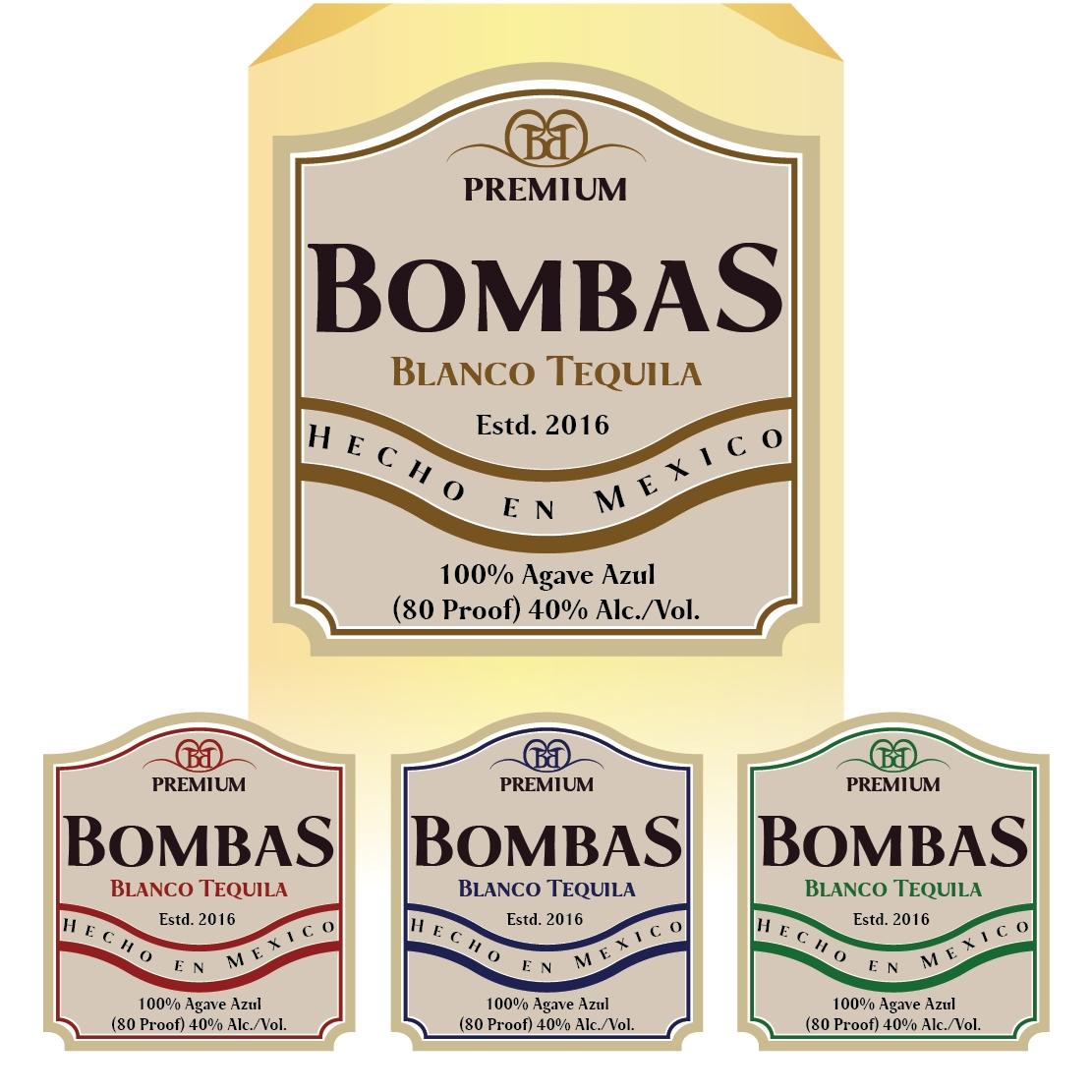 Bombas Tequila label designs