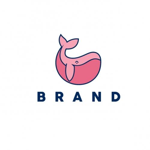 Logo Cute Whale Vector icon