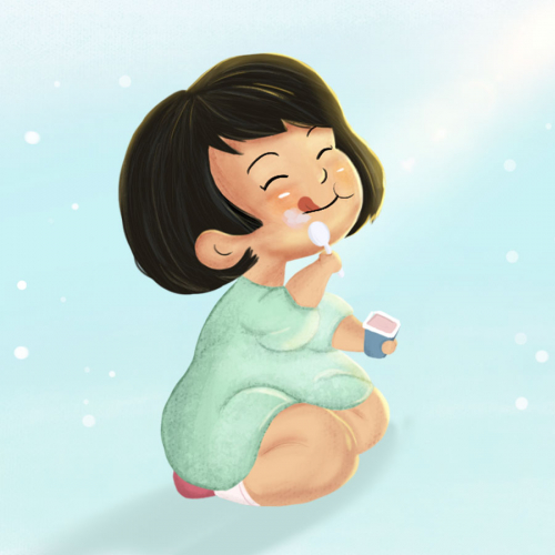 The happy kid eating yogurt