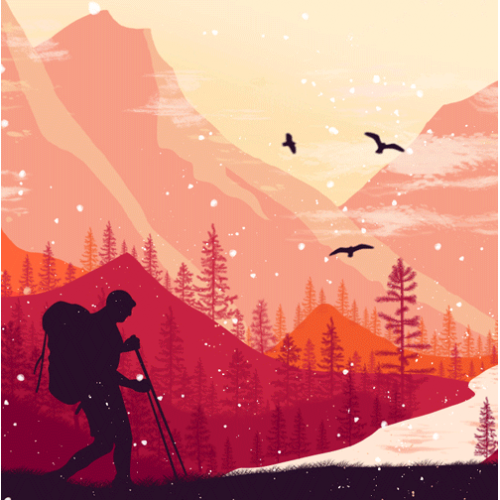 Flat Illustration Mountain Background Facebook Cover