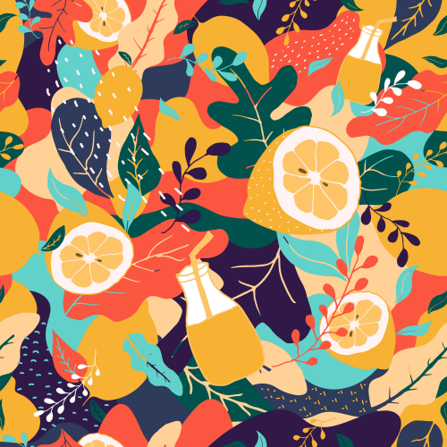 Colorful lemon fruit background seamless pattern