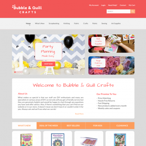 Website layout for Bubble