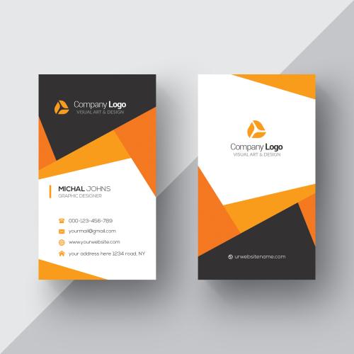 carte visite orange blanche
