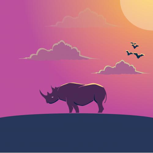 Rhino in the night