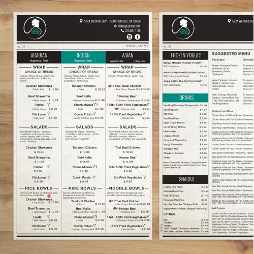 Menu Design job - Restaurant Catering Menu - The Hungry Trader