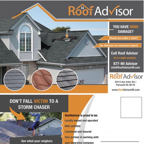 Postcard Design job - Roofing Company Storm Damage Marketing Post Card Mailer