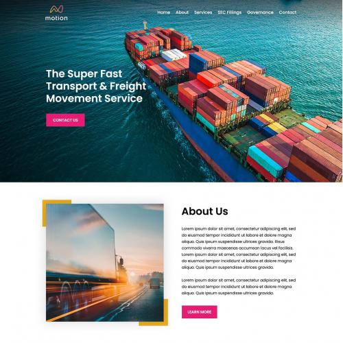 Freight Transport Company Website Design