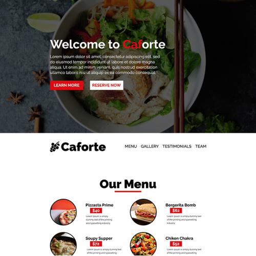 Caforte - A Food Or Restaurant Website Design