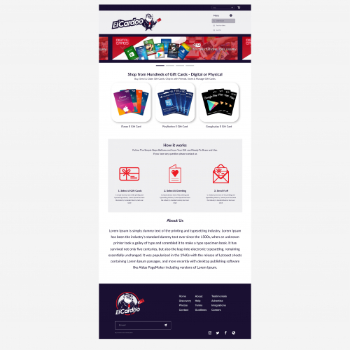 website design for gift card company