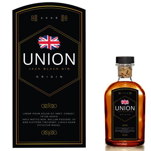 Union Jack Black Gin Label Design