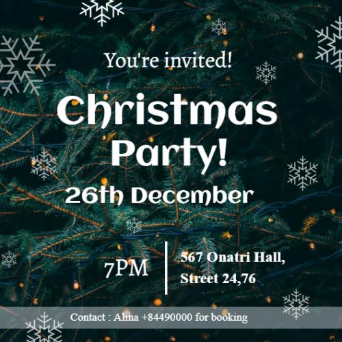 Christmas Party Invite - Snow Fern