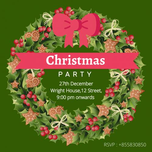 Christmas Party-Wreath Invitation