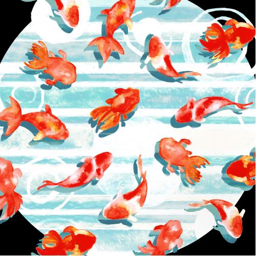 Watercolor Goldfish Ring
