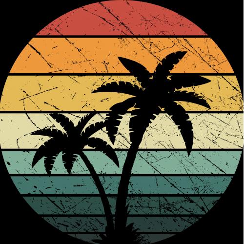 Distressed Retro Vintage Palm Trees
