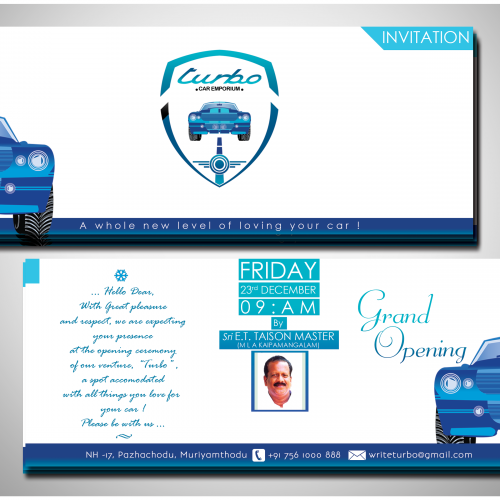 Invitation Design for Turbo Car Emporium ...