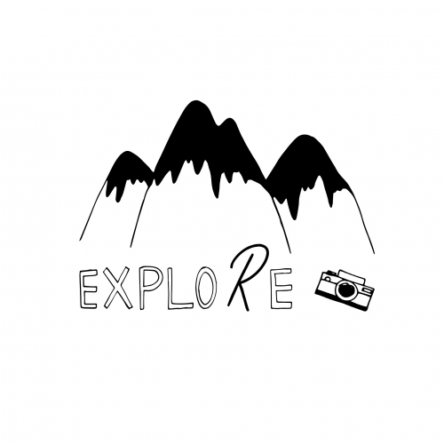 Explore Our Wonderful Nature Logo. Mountains and Camera
