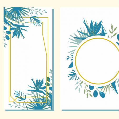 Wedding tropical design, frame, invitation