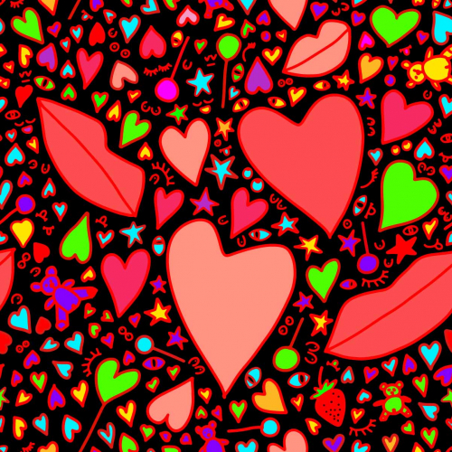 seamless pattern with bears, hearts, kiss, eyes