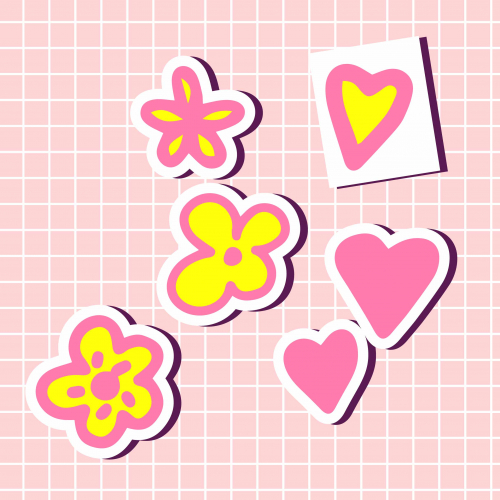 Cute tropic flowers, hearts in pink colors sticker