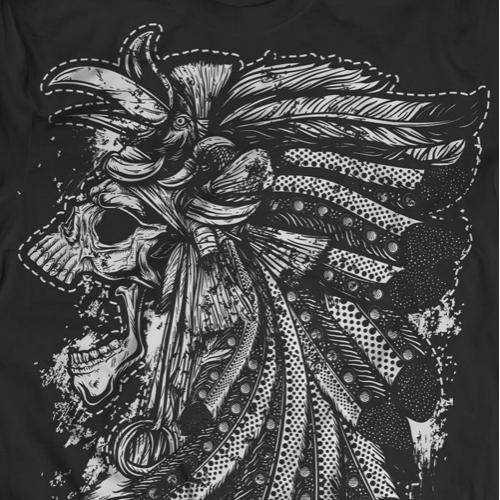 Dayak Skull Tshirt Design
