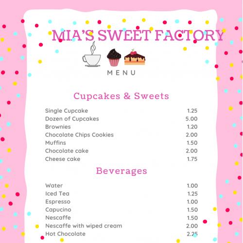 menu for cakes shopp