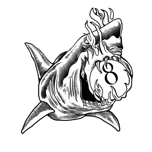 Shark 8D (Black White) Artwork