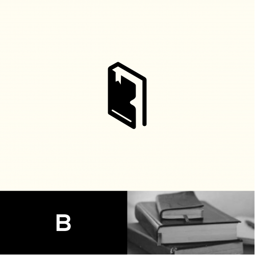 b logo and book