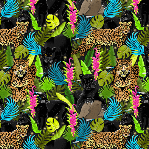 Tropical Wild cats pattern