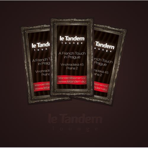 Business cards design for Le Tandem lounge in Prague, Czech Republic.