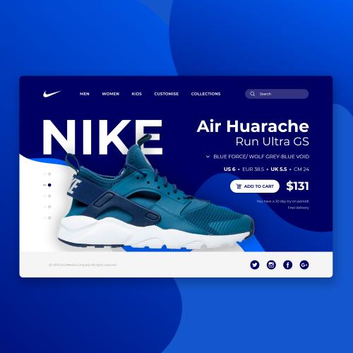 Nike Huarache Landing Page