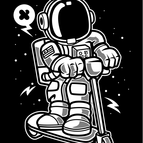 Astronaut Riding Scooter