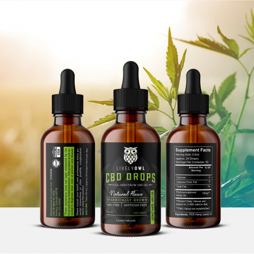 CBD Oil Label for Lively Owl