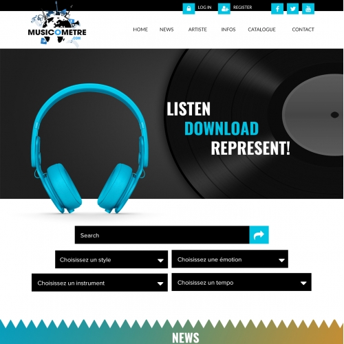Music website landing page