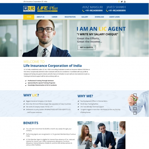 Website design for LIC agents
