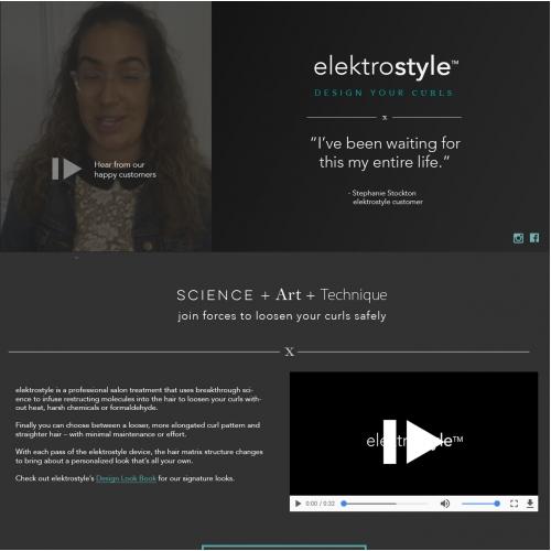 Website design for hair care company