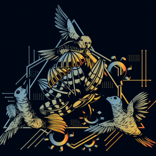 Hi-Tech Bird Flowe illustration