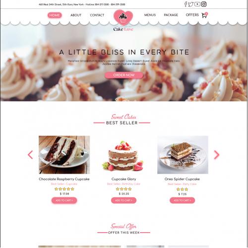 Bakery Website Landing Page Design Concept 2017